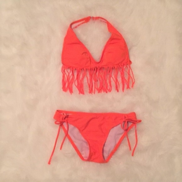 582fd37b4 jcpenney Other - Neon Orange String Halter Bikini Padded Top